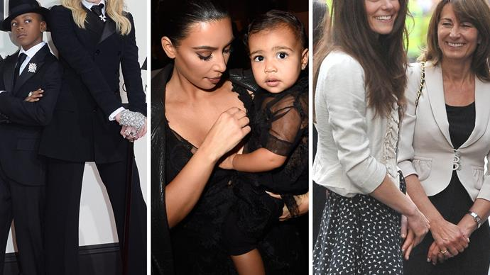 Madonna, David, Kim Kardashian, North West, Duchess Catherine, Carole Middleton