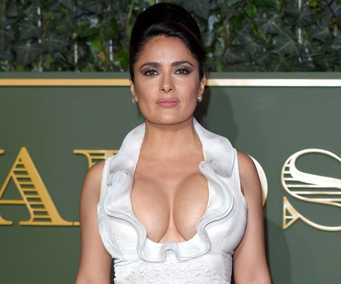 Salma Hayek in cleavage-baring dress