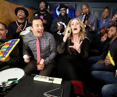 Adele performs 'Hello' on Jimmy Fallon, using only children's instruments