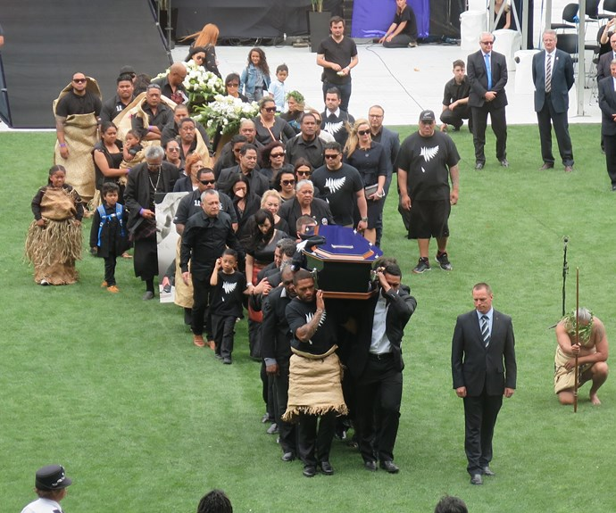 Jonah Lomu being carried out of Eden Park