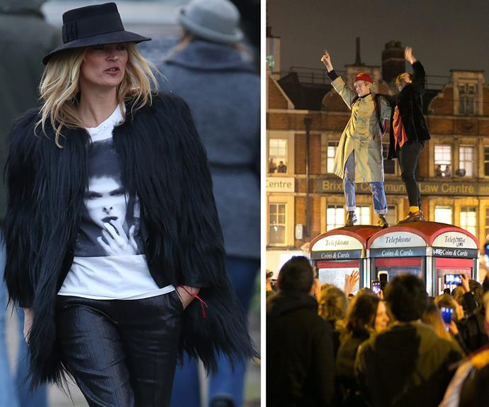 Kate Moss and David Bowie fans in Brixton