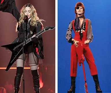 Madonna crashes to the floor following her tribute to David Bowie