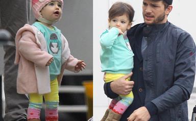 Bring your baby to work day! Ashton and Wyatt Kutcher visit Mila Kunis on set