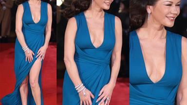 Gone with the wind: Catherine Zeta-Jones' wardrobe malfunction at Dad's Army premiere
