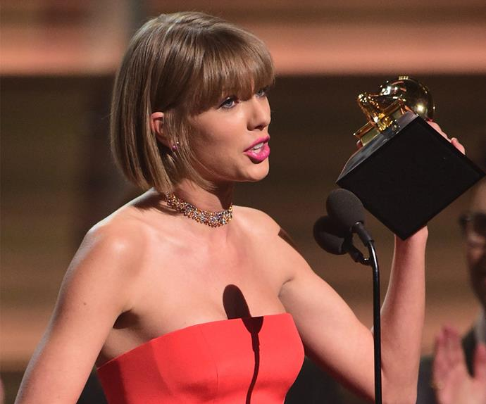 Taylor Swift at the 58th Annual Grammy Awards