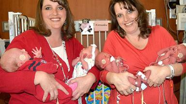 Identical twin sisters give birth to twins – twice!