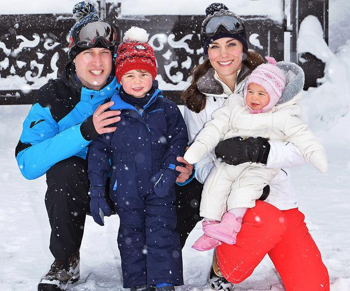 Prince George and Princess Charlotte in the snow