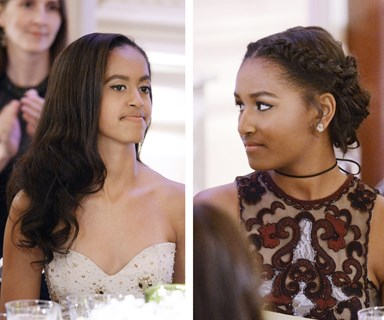 Malia and Sasha Obama stun at their first official state dinner