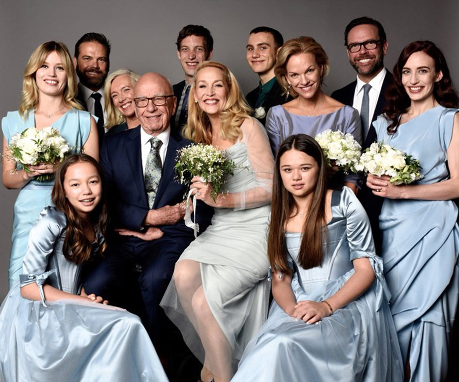 Rupert and Jerry on their wedding day surrounded by all ten of their children from previous marriages.