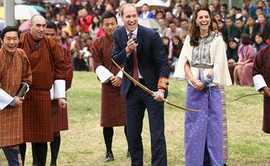 The Duke and Duchess of Cambridge try archery in Bhutan