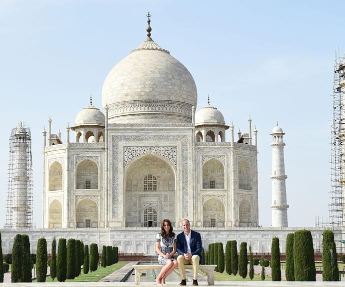 Prince William and Duchess Catherine visit the Taj Mahal in Agra, India.
