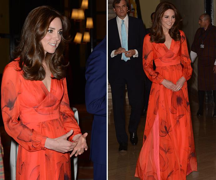 Red alert! All eyes were on the Duchess as she stepped out in this incredible dress by one of her favourite designers, Beulah. The dreamy ensemble sported Bhutan's national flower, the poppy, and costs around $AUD1369 (£745).