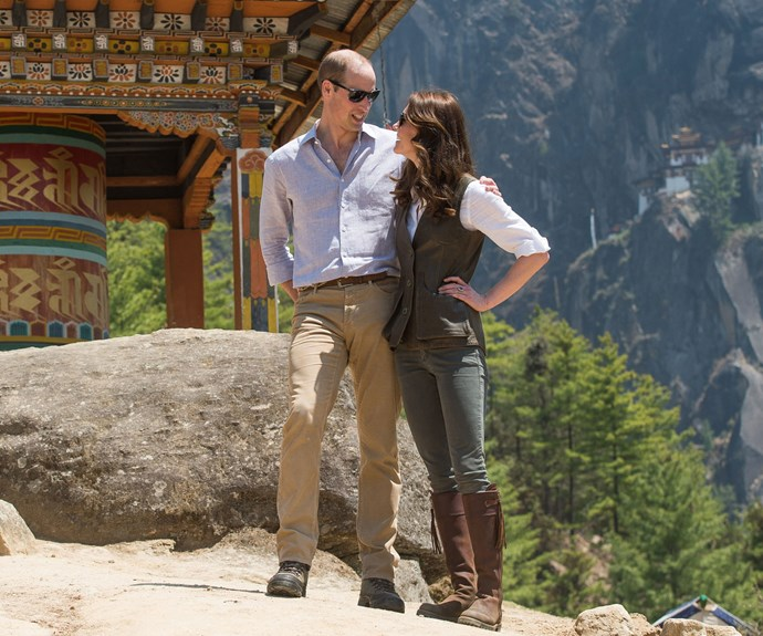 The couple stop for a brief rest during their hike to see the Tiger's Nest monastery in Bhutan.