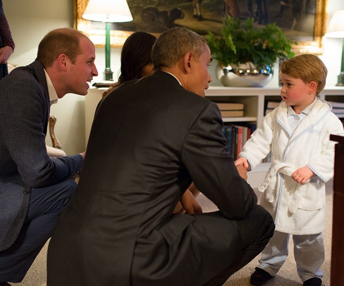 George looked adorable in a bespoke dressing gown with his name on it when he met President Obama in April this year.