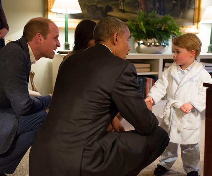 "Friends in high places! George stole the show yet again when [he met President Obama](https://www.nowtolove.com.au/royals/british-royal-family/prince-george-meets-president-obama-19793|target=""_blank"") in April 2016 rocking a bespoke dressing gown."