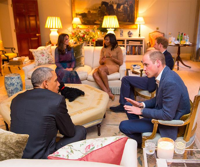 Ahead of their meal, the royals enjoyed a catch up with The President and First Lady in the Drawing Room of Apartment 1A, Kensington Palace.