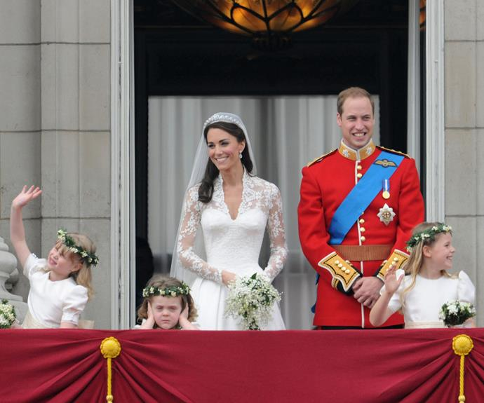 Hugh van Cutsem's daughter Grace, pictured here in front of the Duchess, almost stole the show at the 2011 wedding with her rather unimpressed scowl.