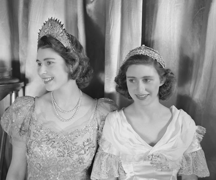 The Princesses get dressed up to take part in a pantomime at Windsor Castle in December 1944. Photo: Studio Lisa/Getty