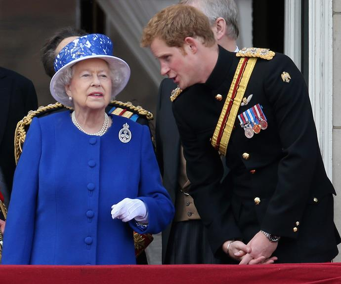 The Queen and Prince Harry are pictured during the 'Trooping the Colour' celebrations in June 2015. Photo: Getty
