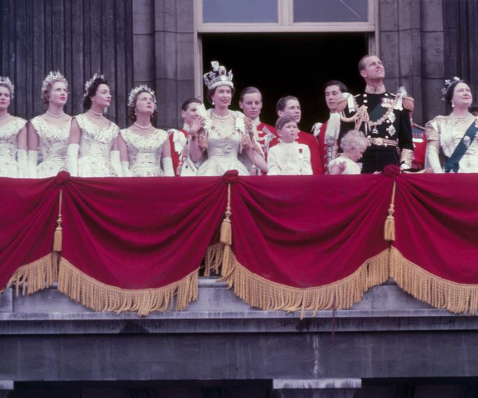 The royal family on the balcony at Buckingham Palace after Queen Elizabeth's coronation. Photo: Fox Photos/Hulton Archive via Getty