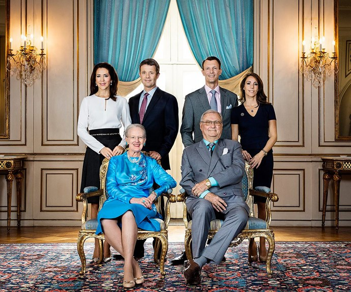 An official portrait of the Danish royal family to celebrate Queen Margrethe's 76th birthday.