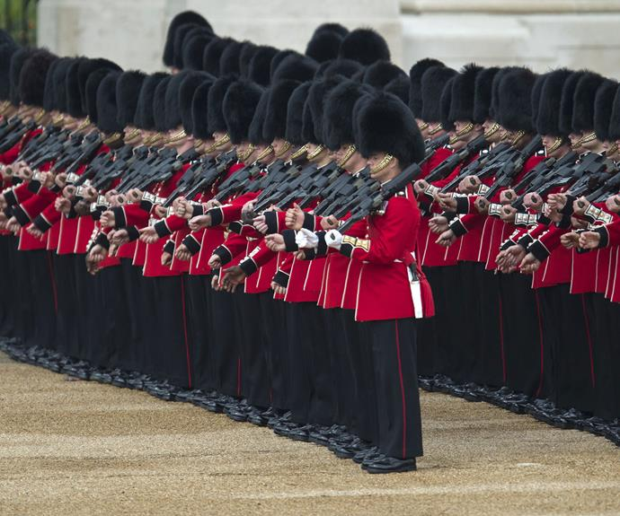 Marching for Her Majesty.