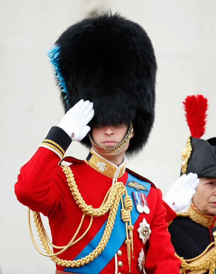 Prince William salutes.