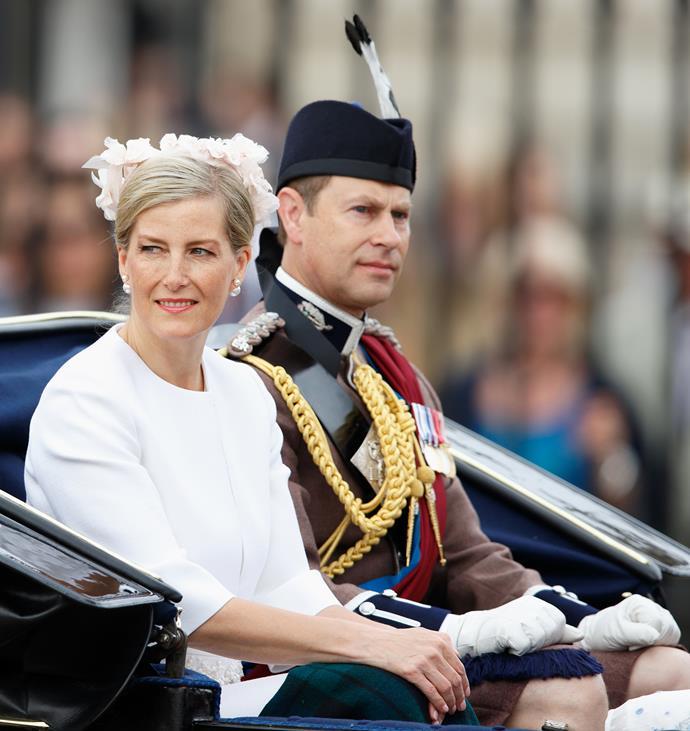 Sophie of Wessex sits beside her husband Prince Edward.