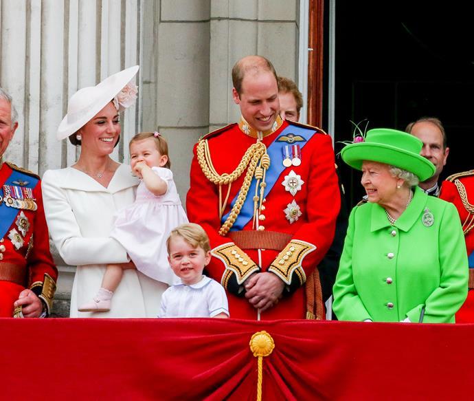 Catherine, Duchess of Cambridge, Princess Charlotte of Cambridge, Prince George of Cambridge, Prince William and Queen Elizabeth II.