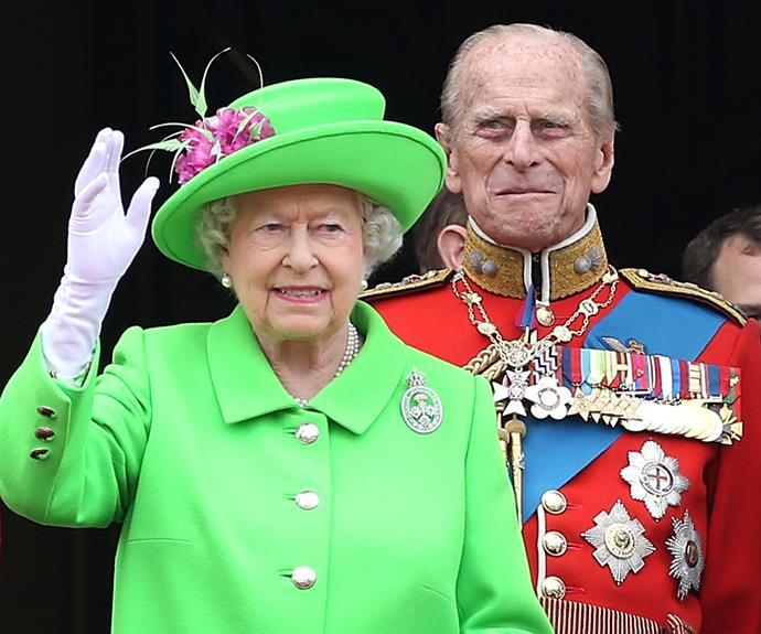 The Queen waved to the crowds outside Buckingham Palace.