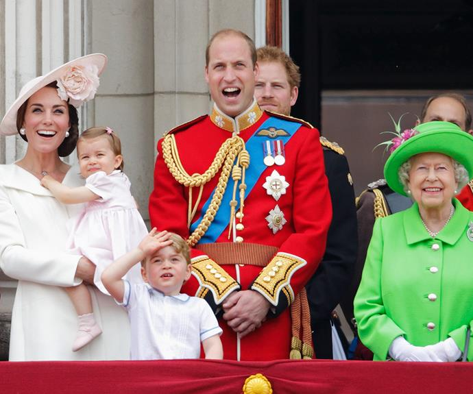 Prince William looked particularly thrilled to be joined by his grandmother, The Queen, and his two precious children.