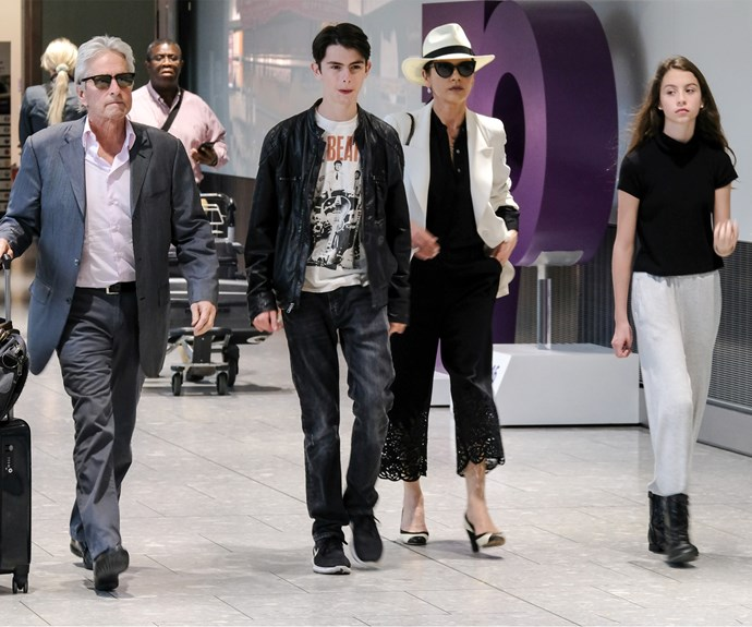 Family time! Michael Douglas, son Dylan, Catherine Zeta-Jones and daughter Carys headed out together.