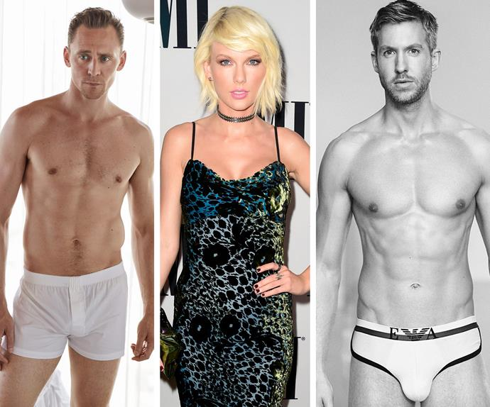 Tom Hiddleston, Taylor Swift, Calvin Harris