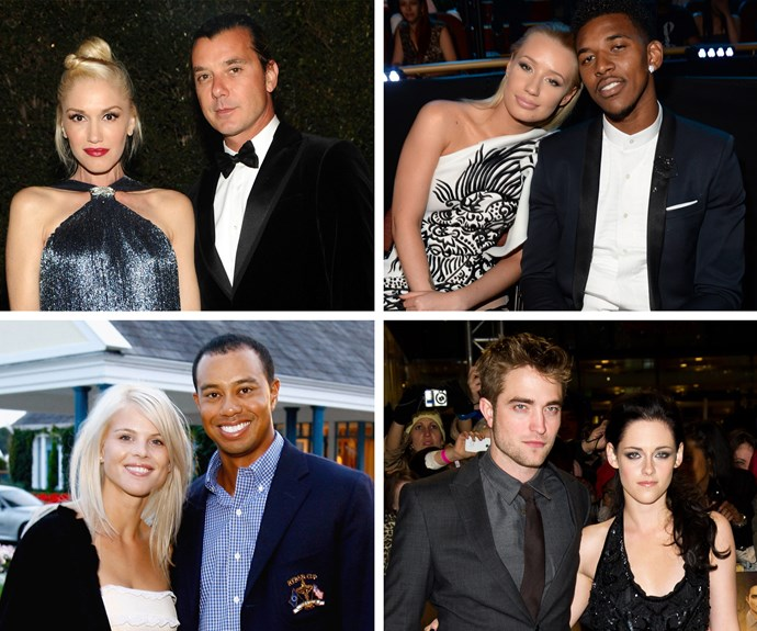 Gwen Stefani and Gavin Rossdale, Iggy Azalea and Nick Young, Elin Nordegren and Tiger Woods, Robert Pattinson and Kristen Stewart