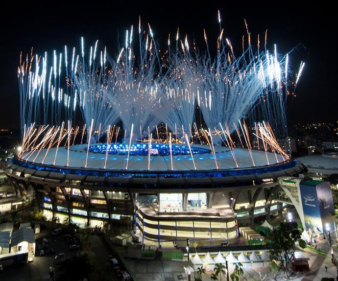 Rio Olympics 2016 opening ceremony fireworks display