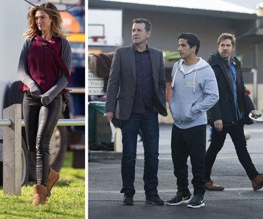 Delta Goodrem gets to work on the set of House Husbands