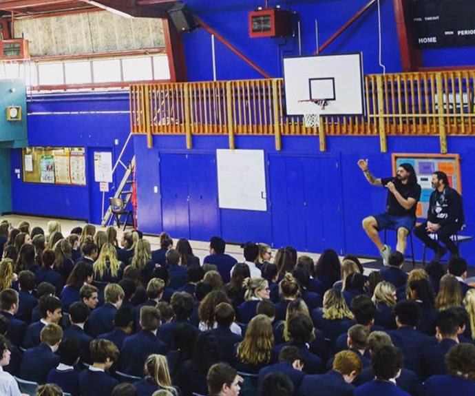 Steven Adams and Willie Apiata make a surprise visit to high school
