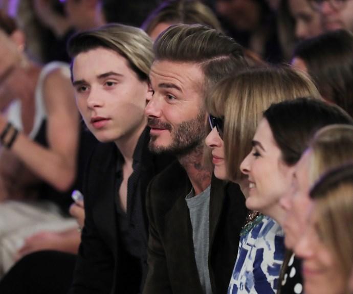 David Beckham, Brooklyn Beckham and Anna Wintour