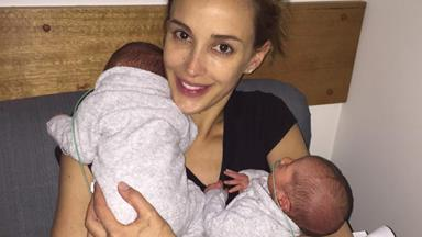 Rebecca Judd's new twin bubs meet their siblings!
