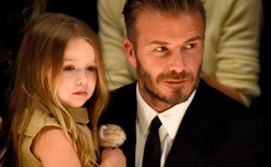 David Beckham says he kisses all his kids on the lips despite what some may think...