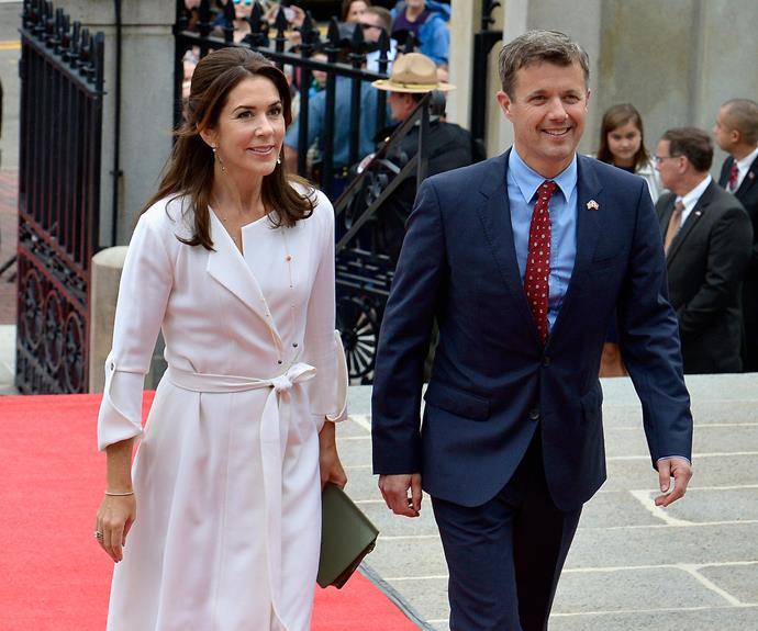 Mary looks radiant in a crisp, white coat.