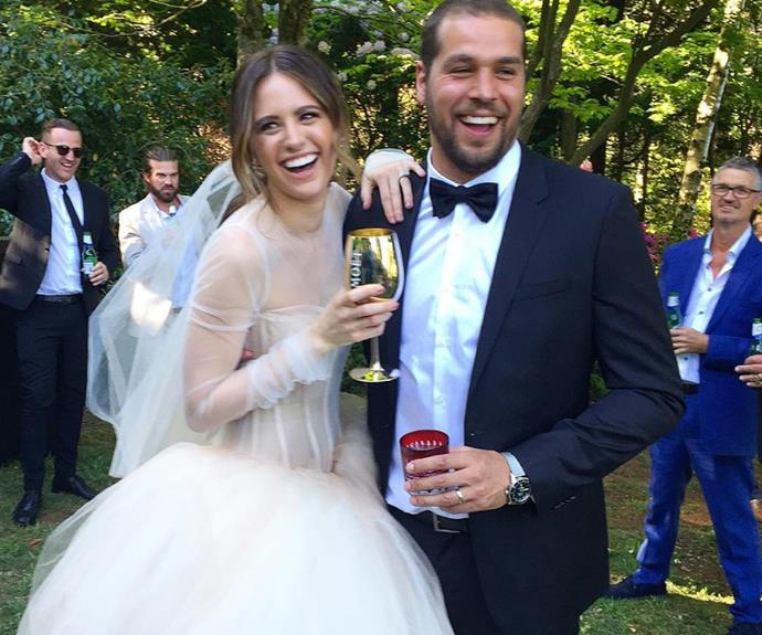 It was all smiles at the loved-up couples intimate spring wedding.