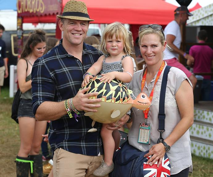 Zara, Mike and Mia Tindall