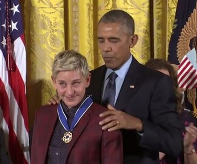 Watch: Ellen DeGeneres cries as President Obama honours her at ceremony