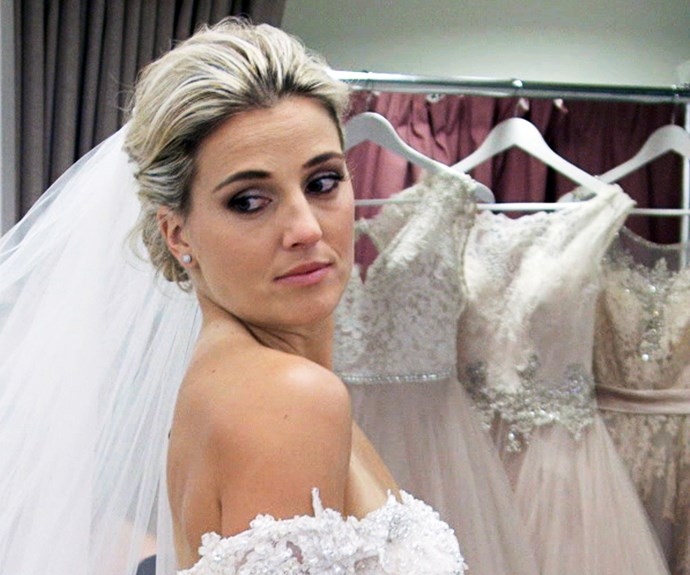 Gemma Flynn tries on wedding dresses with Adam Dixon