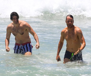 Making a splash! Hamish and Andy are mobbed at the beach