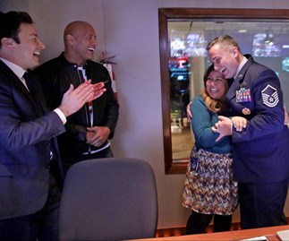 Dwayne 'The Rock' Johnson and Jimmy Fallon orchestrate emotional reunion for a military couple