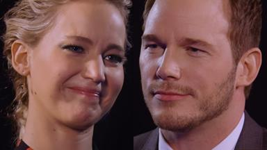"""Jennifer Lawrence and Chris Pratt play hilarious """"insults"""" game"""