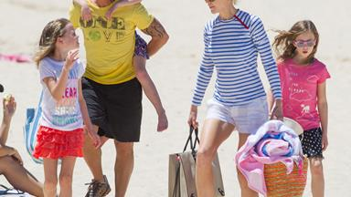 Nicole Kidman and Keith Urban take their daughters to the beach