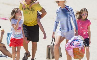 Nicole Kidman and Keith Urban take their daughters to the beach